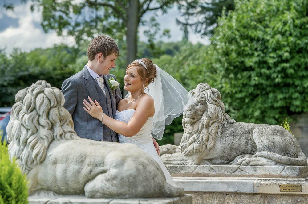 Bride and groom at Rogerthorpe Manor Hotel in Pontefract