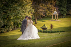 Evening Sunshine Wedding Photograph at Wentbridge House Hotel with the Bride and Groom
