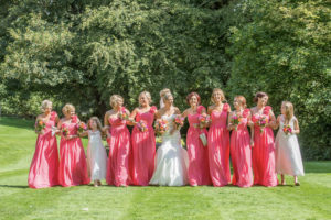 A large party of bridesmaids having fun in Pontefract