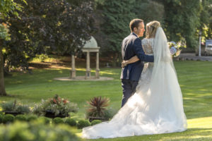 Late afternoon sunshine bride and groom photography session at Wentbridge House Hotel