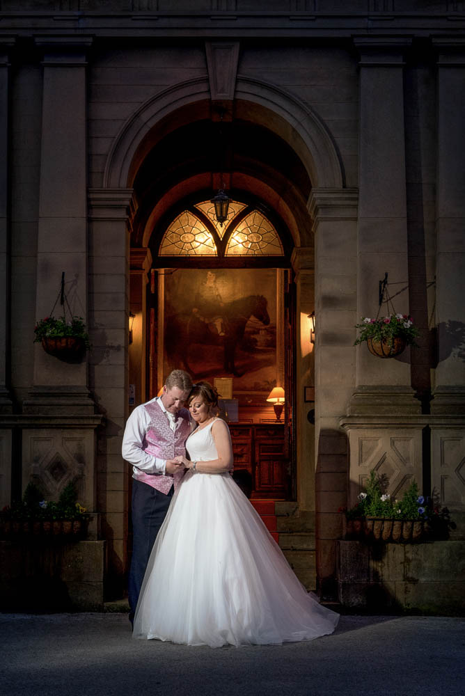 Twilight photograph of bride and groom at Bagden Hall