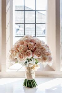Bridal flowers at Rogerthorpe Manor hotel in Pontefract