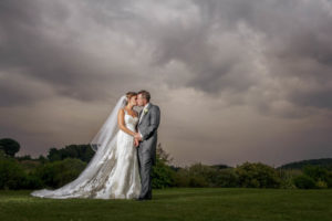Stormy Wedding Photography with bride and groom in Wakefield