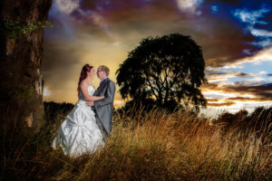 Wakefield sunset wedding photography with bride and groom