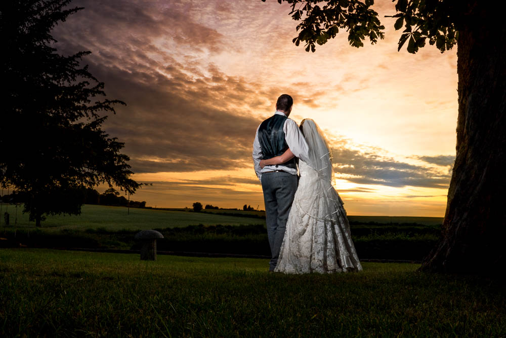 Romantic sunset shot in the front garden at Rogerthorpe Manor Hotel