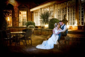 Twi-light court yard Bride and Groom photographed at the Bridge Inn Wetherby