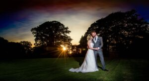 Bride and Groom sunset photographed at the Bridge Inn Wetherby