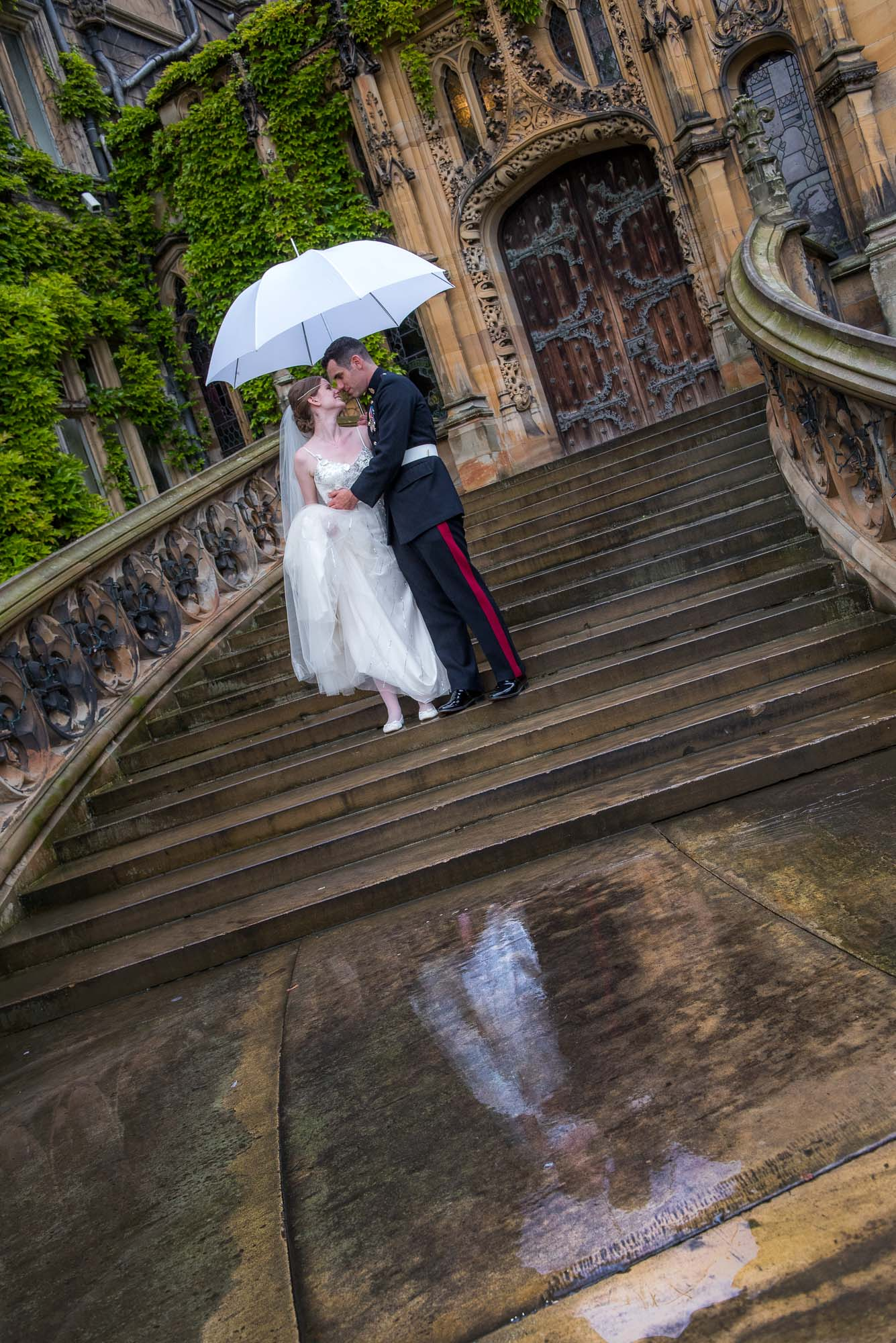 Bride and Groom reflection wedding photograph at Carlton Towers