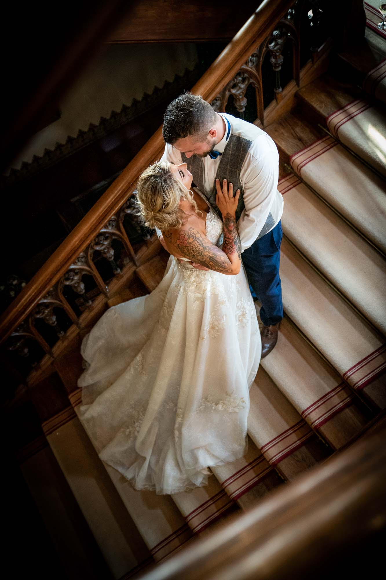 Bride and Groom on the Stairs at Carlton Towers