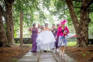 Bride on the way to the ceremony at Nostel Priory