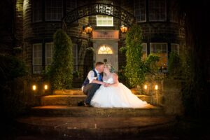 Bride and Groom Twilight shot at Kings Corft Hotel in Pontefract