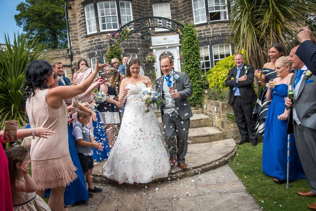 Confetti Throwing Wedding Photograph at Kings Croft Hotel in Pontefract