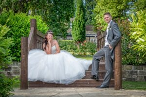 Bride and Groom on the steps at Kings Croft Hotel