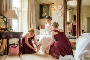 Bride getting ready at Carlton Towers in Selby