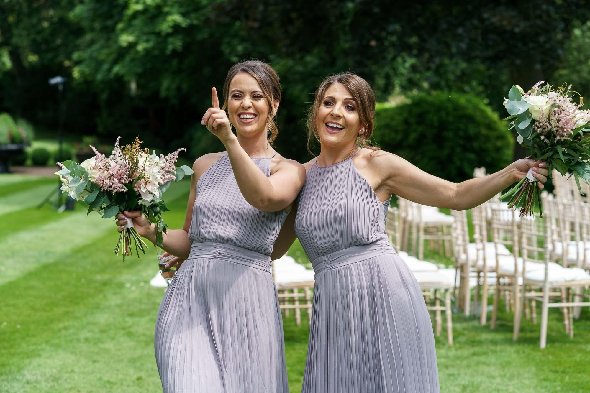 Bridesmaids having fun at Wentbridge House Hotel