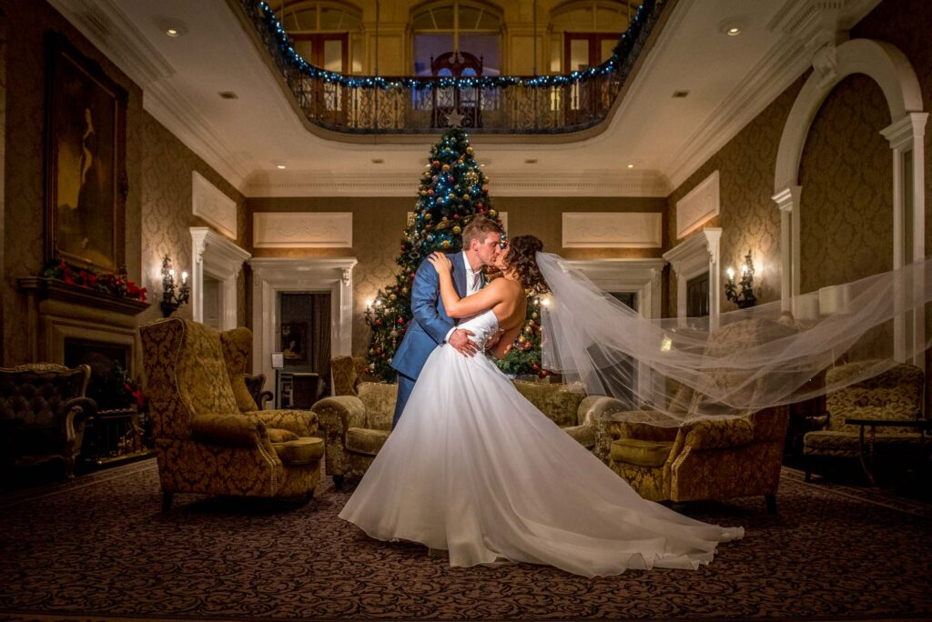 Bride and groom at Oulton Hall Hotel