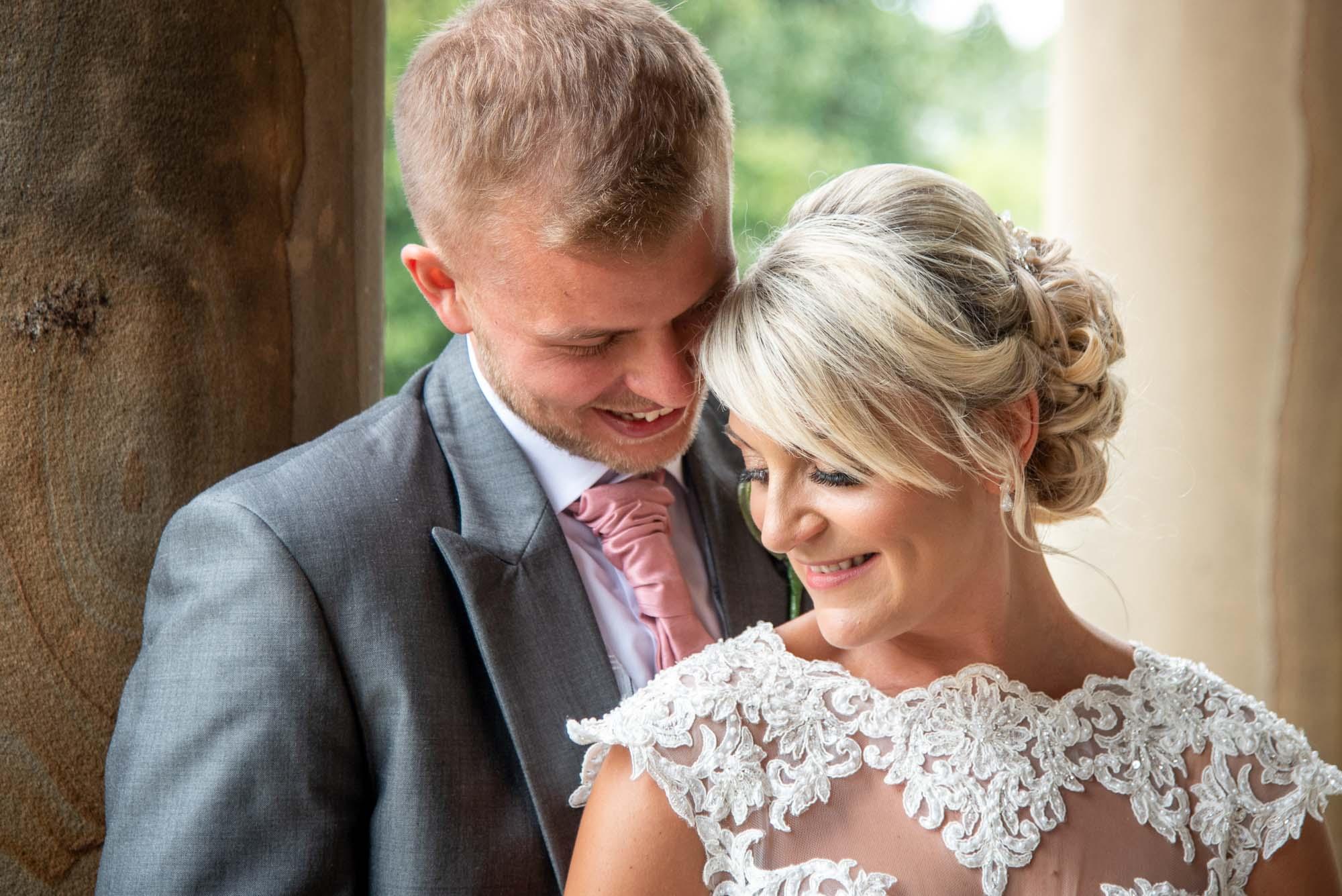 Bride and groom headshot at Waterton Park in Wakefield