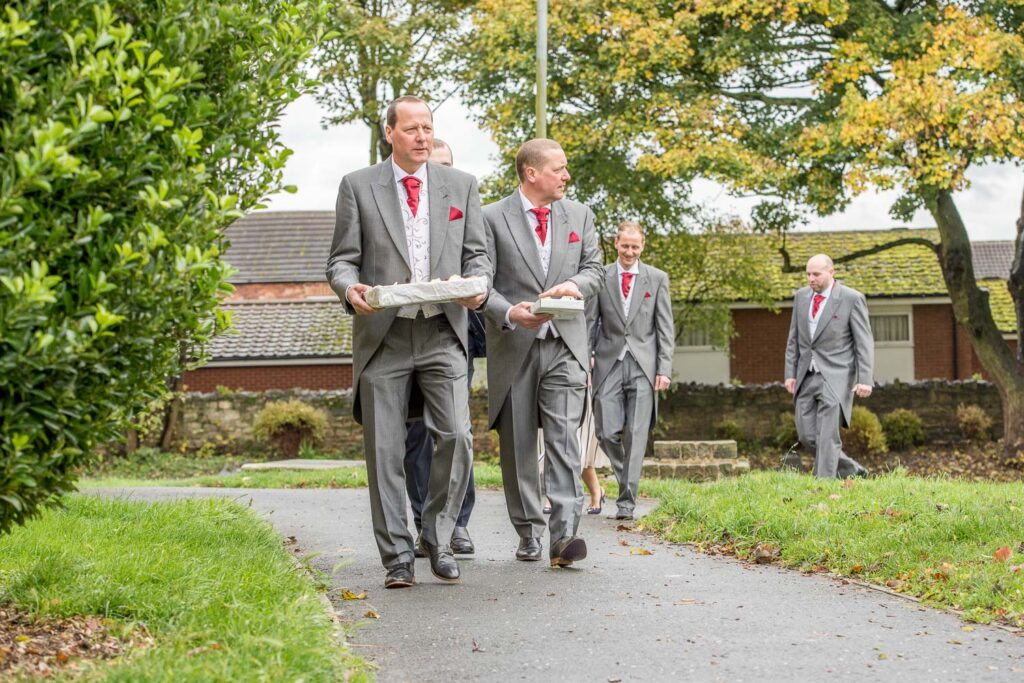 Groomsmen at Kippax Church near Leeds