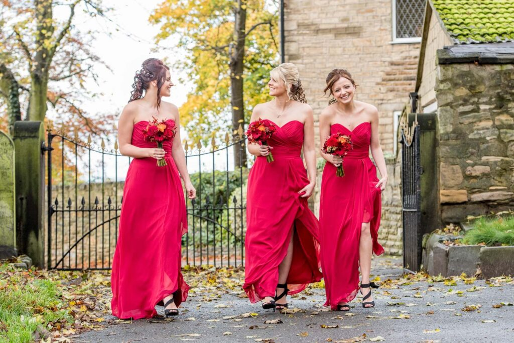 Bridesmaids at Kippax Church near Leeds