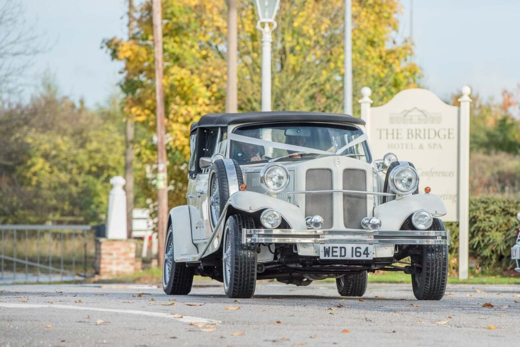 Wedding car at the Bridge Inn near Wetherby
