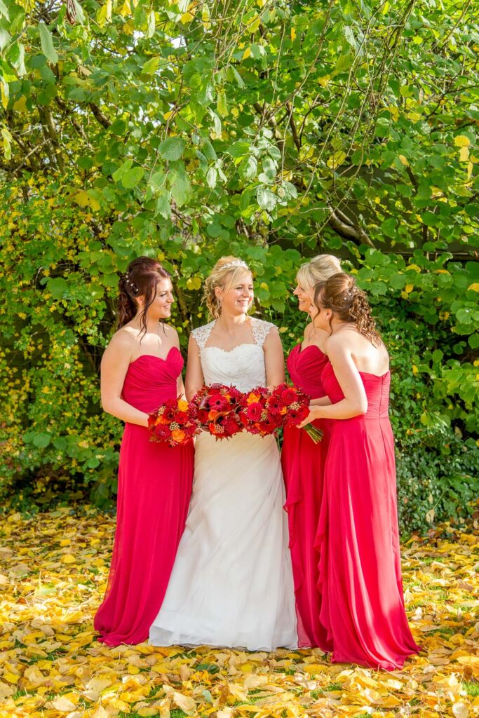 Bride and bridesmaids at The Bridge Inn, Walshford, Wetherby near Leeds