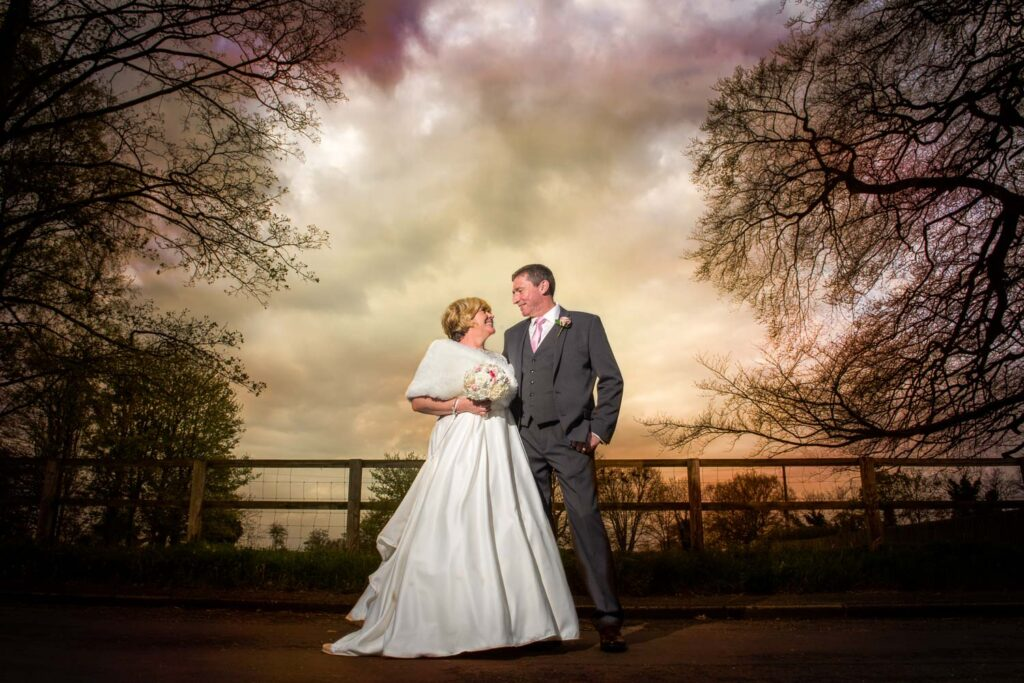 Bride and groom wedding photography wow shot at The Bridge Inn at Walshford near Wetherby