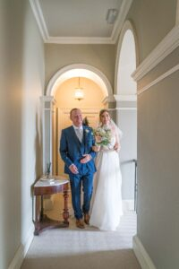 Bride and dad wedding ceremony at Saltmarshe Hall near Goole and Selby