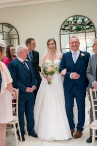 Bride and groom wedding ceremony at Saltmarshe Hall near Goole and Selby