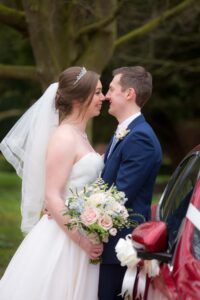 Bride and groom photographed at Saltmarshe Hall near Goole and Selby