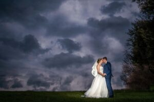 Wow shot of bride and groom at Saltmarshe Hall near Selby