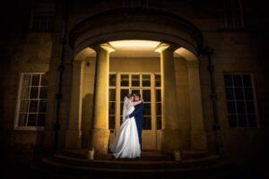 Twilight shot of the bride and groom at Saltmarshe Hall