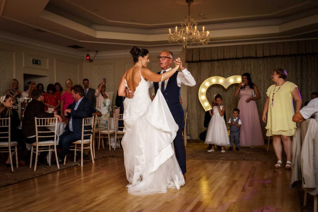 Bride and Dad Dance at Wentbridge House Hotel in Pontefract