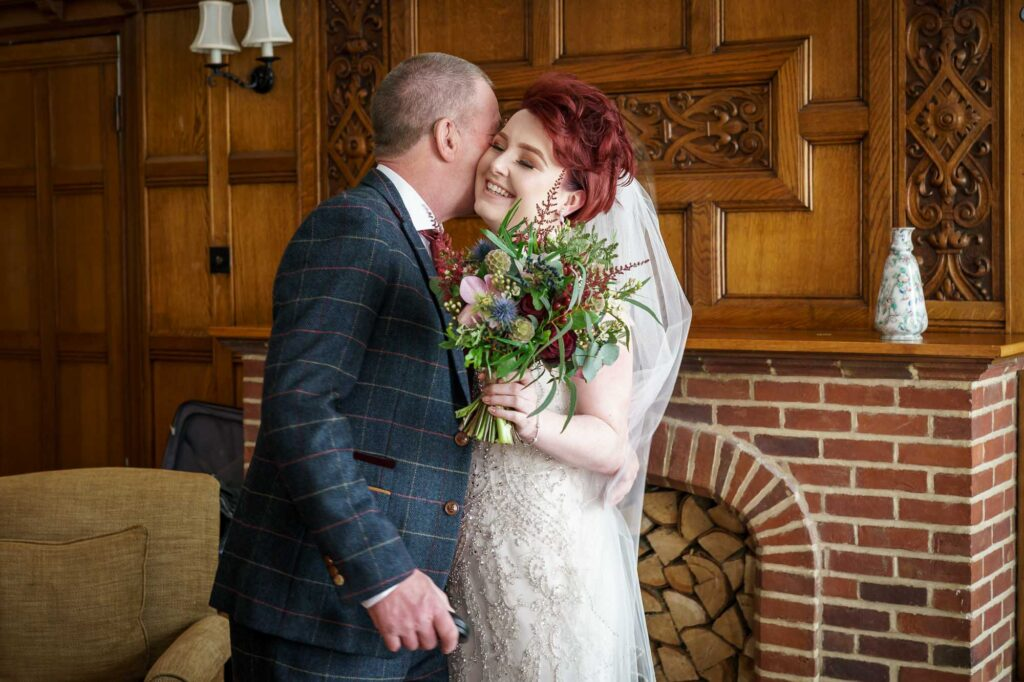 Bride and Dad at Wentbridge House Hotel in Pontefract