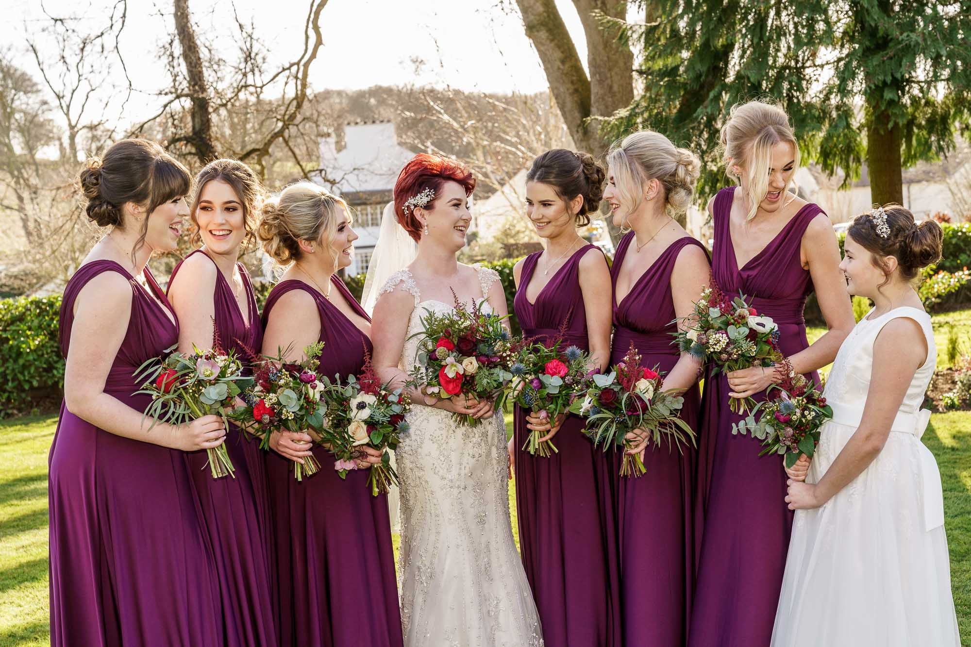 Bridesmaids group shot at Wentbridge House Hotel