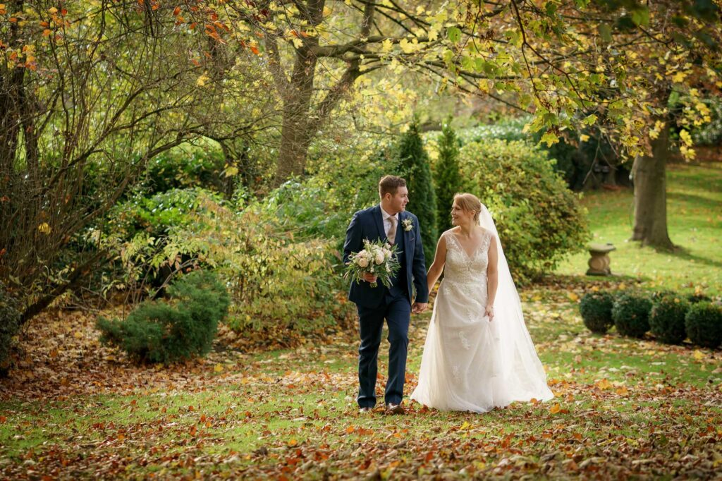 Bride and groom photographed at Wentbridge House Hotel