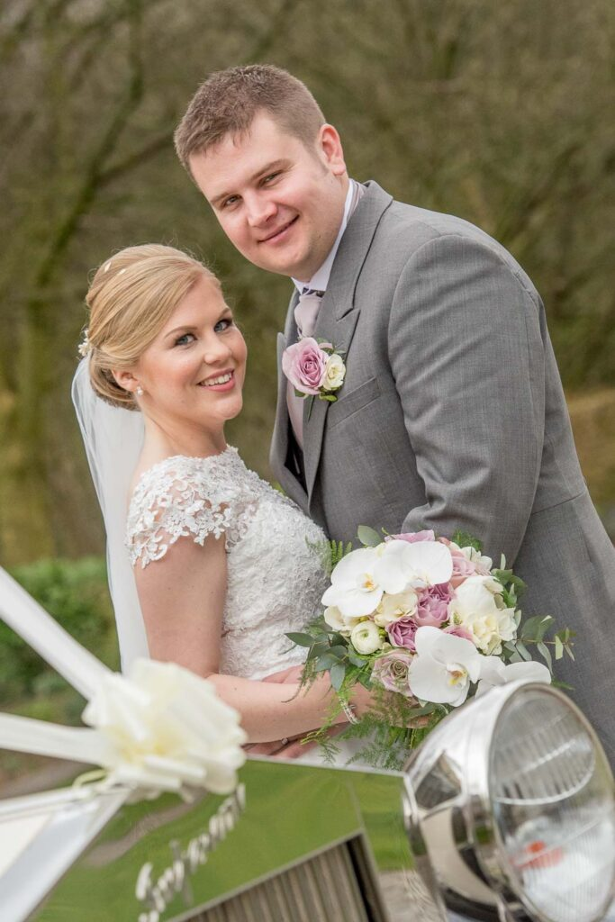 Bride and groom photographs at Woodlands Hotel in Gildersome near Leeds