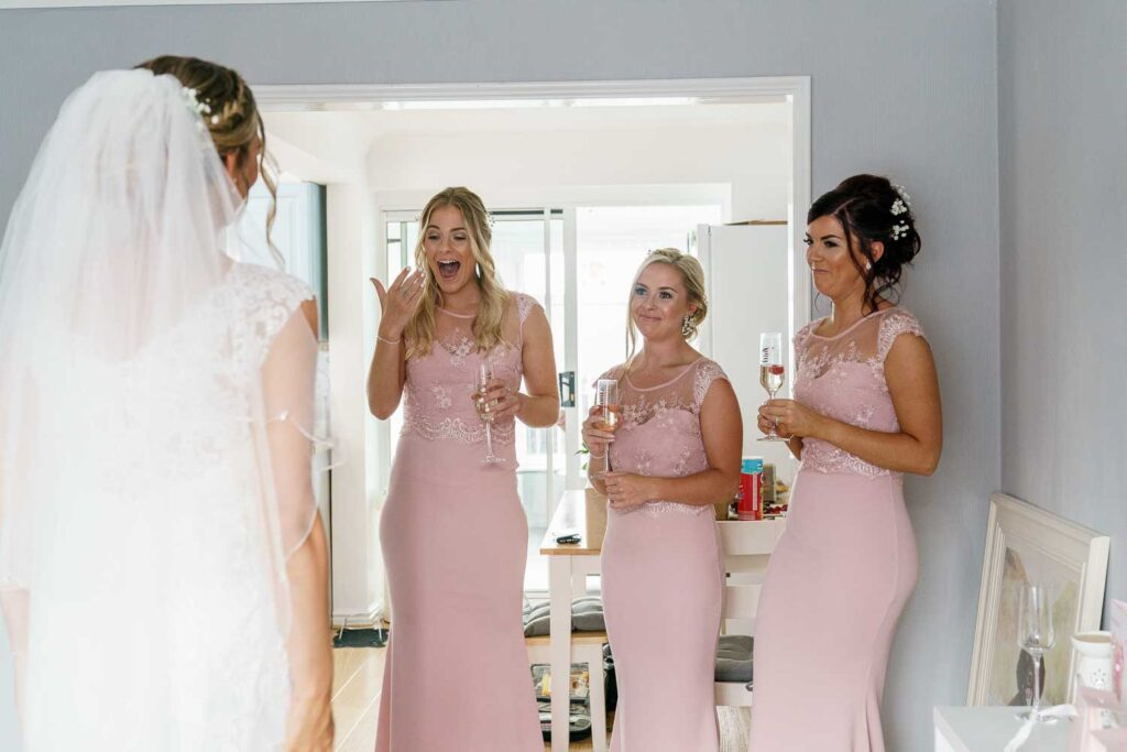 Bride first look at Bridal Preps at Woodlands Hotel in Gildersome near Leeds