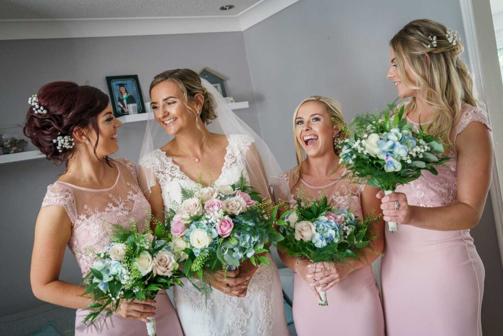 Bride and Bridesmaids at Bridal Preps at Woodlands Hotel in Gildersome near Leeds
