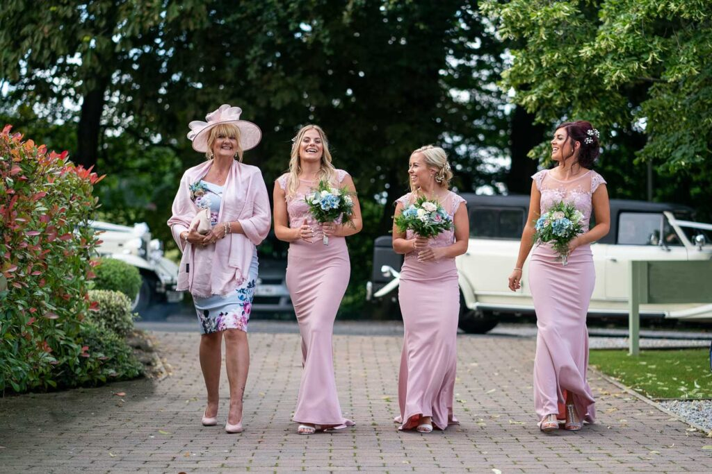 Wedding party arrive at Woodlands Hotel in Leeds