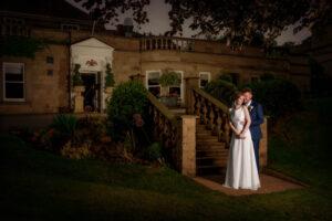 Bride and groom twilight photograph at Wentbridge House Hotel