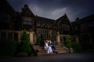 Bride and groom night time shot at Woodsome Hall Hotel