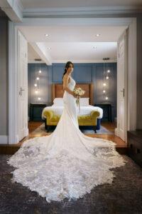 Bride in dress at Bridge Inn