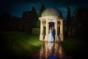 Bride and groom at Rogerthorpe Manor Hotel in the Dark