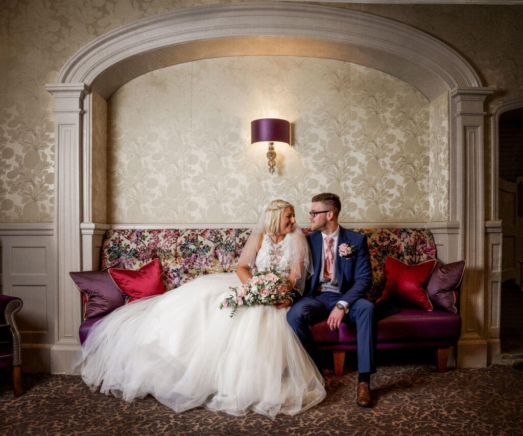 Bride and Groom at wedding in Drawing Room at Wentbridge House Hotel