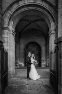 Bride and Groom outside church in Leeds