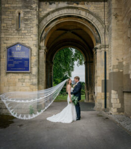 Bride and groom outside church